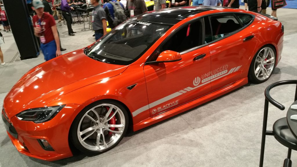 Unplugged Customs exhibited special styling for a Tesla Motors Model S at SEMA 2016
