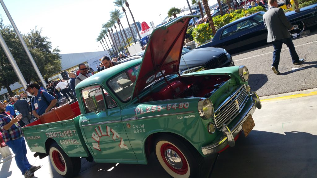 Classic 1962 Datsun 1200 pickup truck was converted by Local Motors to an electric truck.