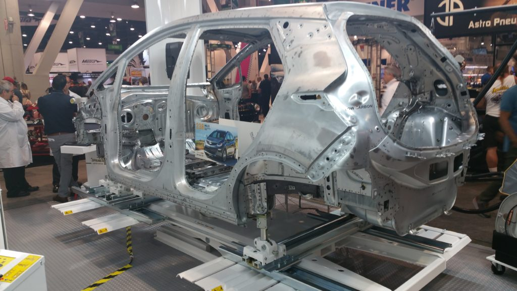 Aluminum body shell of a Chevrolet Bolt ready for final welding and painting.